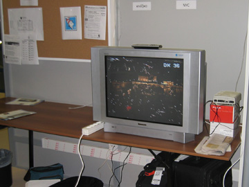 A television in the main press center