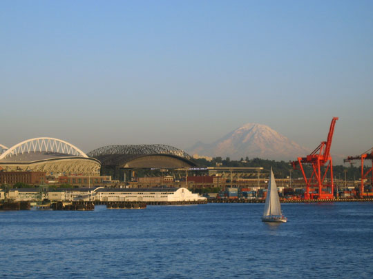 Seattle stadiums and Mount Ranier