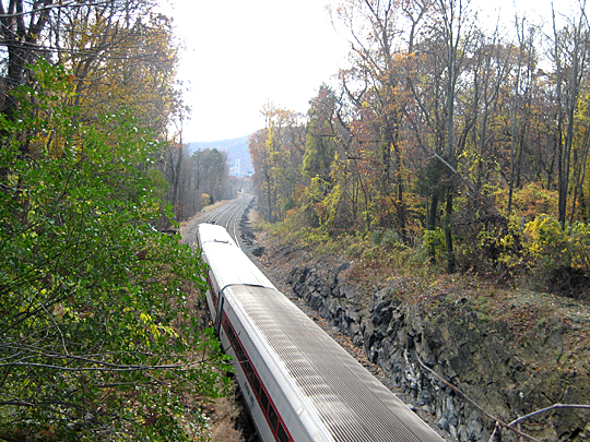 Bridge over train tracks on Mystery Point