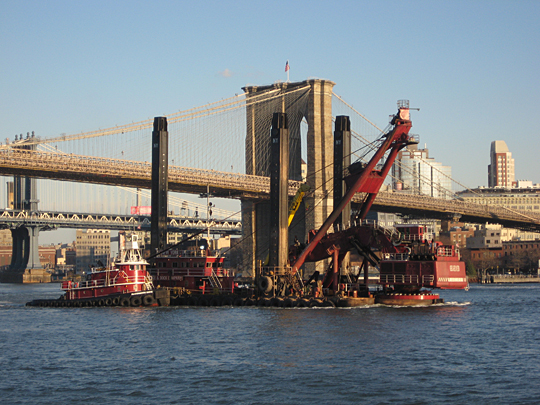 Interesting barge by the Brooklyn Bridge
