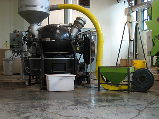 Chocolate manufacturing equipment at Theo Chocolates, Seattle