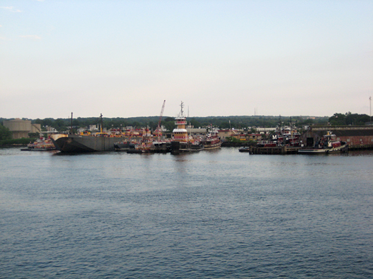Docked tugs and barges