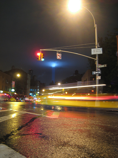 Sept 11 Tribute in Light from Bleeker and 7th Avenue