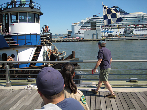 Tugboat line throwing competition