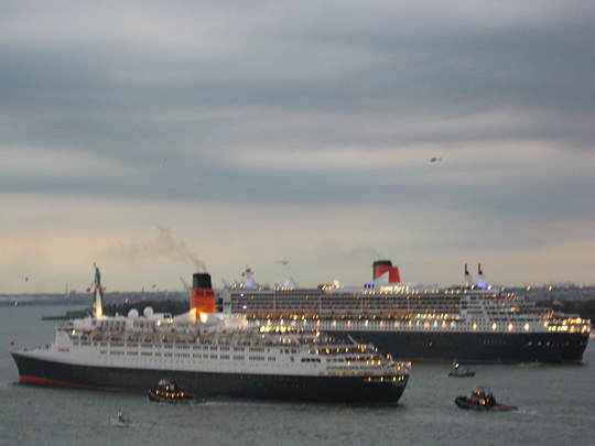 Queen Elizabeth 2 and Queen Mary 2 in New York Harbor