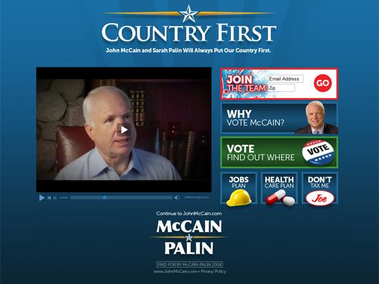 McCain web site