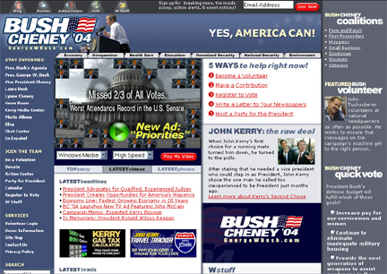 Screenshot of George Bush Re-Election site