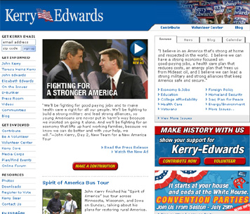 Screenshot of John Kerry for President site